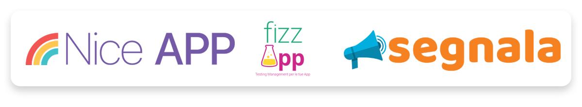 Loghi di Nice APP - Realizzazione Applicazioni per iOS, fizzApp Testing Management Tool for your Apps e Segnala.net
