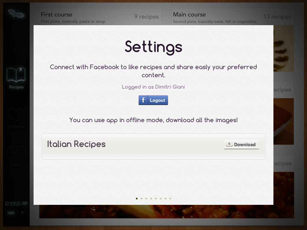 settings and facebook screen